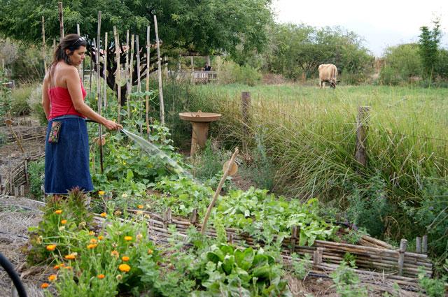 06b. Adriana regando el huerto